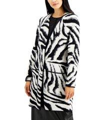 alfani petite zebra-print open-front cardigan, created for macy's