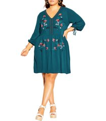 city chic embroidered long sleeve dress, size small in teal at nordstrom