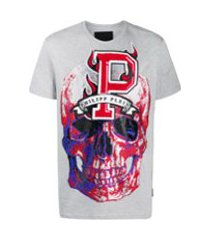 philipp plein camiseta decote careca flame - cinza