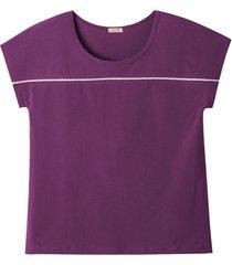 shirt van bio-katoen met kant, azalea 44/46