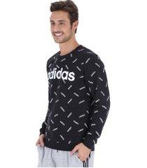 blusão adidas print sweat - masculino - preto/branco
