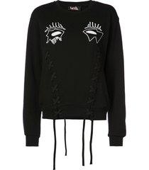 haculla evil eye lace-detail sweatshirt - black
