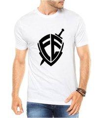 camiseta criativa urbana escudo fé religiosa masculina