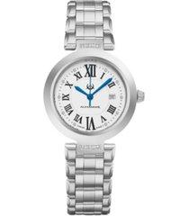 alexander watch ad203b-01, ladies quartz date watch with stainless steel case on stainless steel bracelet