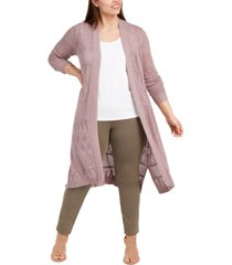 belldini plus size pointelle open-front cardigan sweater