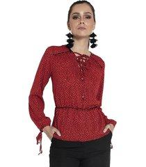 blusa zoe animal print rojo fashions pacific