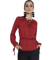 blusa zoe animal print rojo fashions pacific