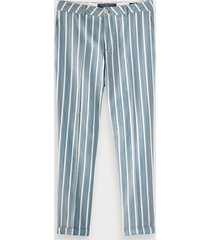 scotch & soda fave - gestreepte broek met visgraatstructuur | regular tapered fit