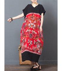 abito lungo da donna scollo a v manica corta patchwork stampa stile folk