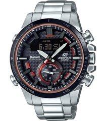 edifice men's solar analog-digital stainless steel bracelet watch 49.2mm