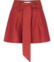bondi born tie-waist linen shorts - red