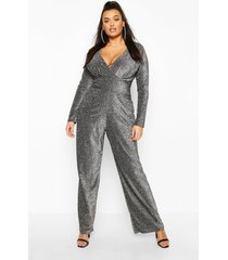 plus metallic glitter cape sleeve jumpsuit, silver