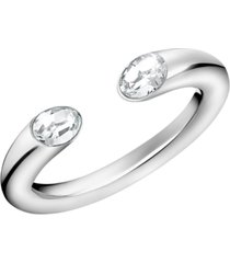 calvin klein crystal cuff ring in stainless steel