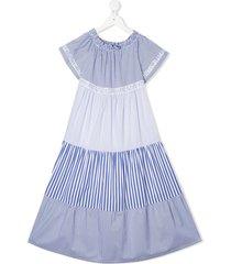 miss blumarine paneled peasant dress - blue