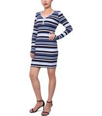 planet gold juniors' striped henley bodycon dress