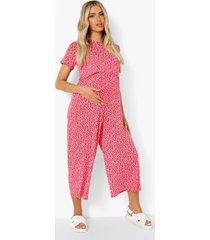 zwangerschap bloemen borstvoeding culotte jumpsuit, red