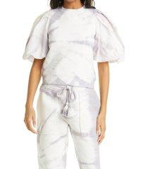 women's ulla johnson elliot tie dye puff sleeve top, size large - purple