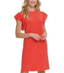dkny mixed-media flutter-sleeve dress