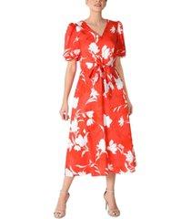 julia jordan floral-print puff-sleeve front-tie midi dress