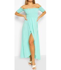 shirred off the shoulder maxi dress, turquoise