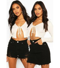 distressed 2-pack denimrok en short, zwart
