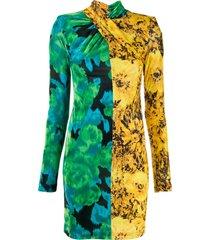 richard quinn sunflower twisted dress - yellow