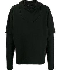andrea ya'aqov layered long-sleeved hoodie - black