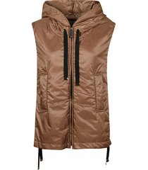 max mara the cube padded vest in camel hair, beige color.