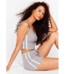 womens side stripe crop and hotpant set - grey marl