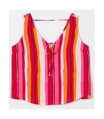 blusa regata em chiffon estampa listras com amarração | a-collection | rosa | pp