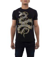 men's barb wire snake rhinestone short sleeve t-shirt