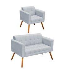 conjunto sofá retrô 2 lugares e 01 poltrona elisa suede cinza - d'rossi
