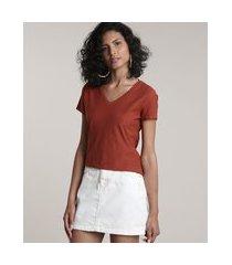 camiseta flamê de algodão básica manga curta decote v cobre