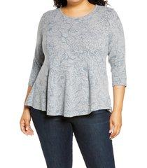 plus size women's bobeau brushed knit babydoll top, size 2x - blue