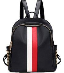 señora bolso remache de moda femenina banda mochila de hombro bolsa estudiante blanco y negro & rojo