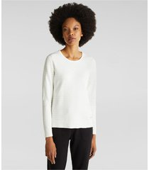 sweater algodón acanalado blanco esprit