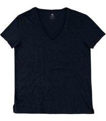 blusa básica gola v hering em algodão pima feminina - feminino