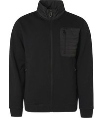 no excess sweater full zip fleece + nylon black