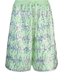 ashish sequin fleece bermuda shorts - green