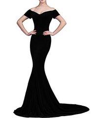 lemai mermaid off shoulder v neck long velvet prom evening dresses black us 6