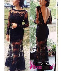 black lace prom dress,high neck full sleeves lace evening brides/party dress r3