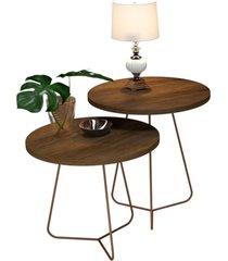 conjunto de mesa decorativo 8004 8005 canela - marrom - dafiti
