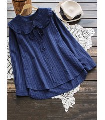camicette da donna irregolari di colore puro di benda a balze vintage
