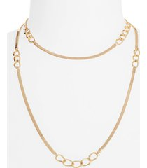 women's halogen inset curb chain long necklace