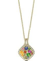 effy women's watercolors 14k yellow gold & multi-stone pendant necklace