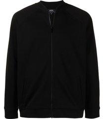 a.p.c. embroidered-logo bomber jacket - black