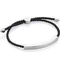 monica vinader engravable men's friendship bracelet in silver/black at nordstrom