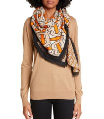 burberry monogram horseferry print cashmere scarf in bright orange at nordstrom