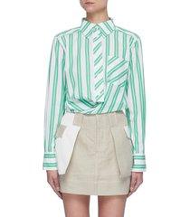 wraparound belt stripe organic cotton shirt