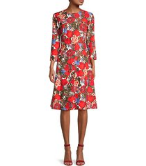 floral-print cotton knee-length dress
